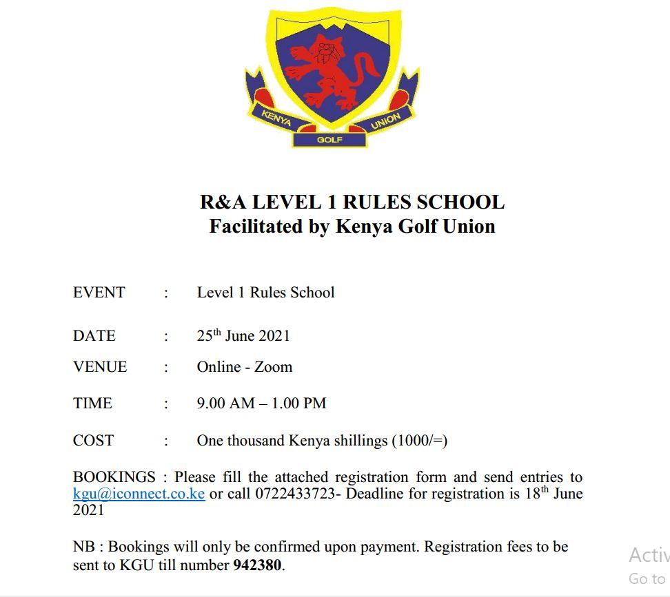 Rules School Level 1 Training – 25th June 2021